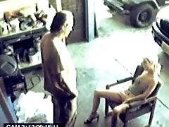 A pretty blond fucking a mechanic to get her car fixed fast